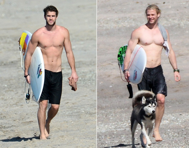 Liam Hemsworth and Chris Hemsworth Shirtless